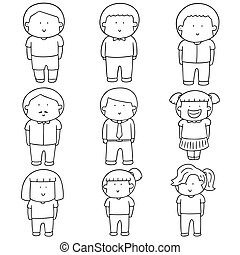 vector set of people