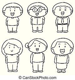 vector set of people