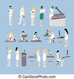 Vector set of people in medical laboratory. Doctors and scientist working, lab vector illustration.