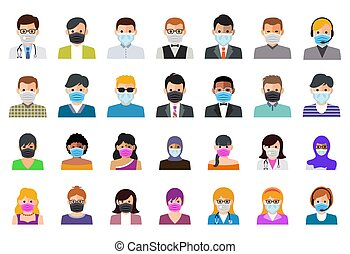 vector set of people in medical masks icons