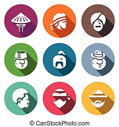 Vector Set of People Nation Icons
