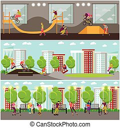 Vector set of people on bicycle, skateboard, rollers and scooter. Skate park banners.