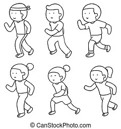 vector set of people running