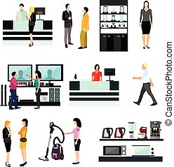 Vector set of people shopping in home electronic store. Icons and design elements isolated on white background
