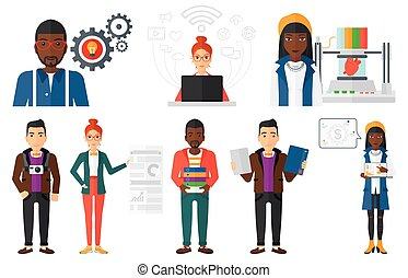 Vector set of people using modern technologies. - Business...