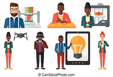 Vector set of people using modern technologies. - Man...