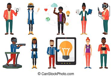 Vector set of people using modern technologies.
