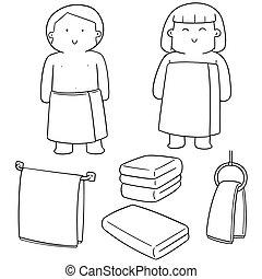 vector set of people wearing towel