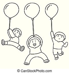 vector set of people with balloon