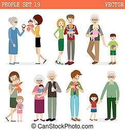 Vector set of people with children