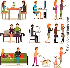 Vector set of people with modern gadgets, flat style design.