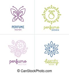 Vector set of perfume and cosmetics logo design templates