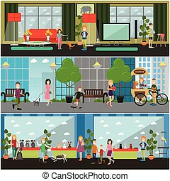 Vector set of pets flat posters, banners