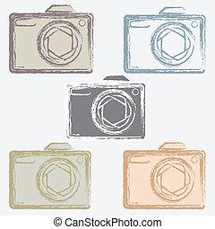 vector set of photo camera icons.