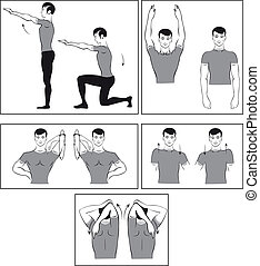 Vector set of physical exercises to