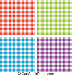 vector set of picnic cooking tablecloth - vector set of...