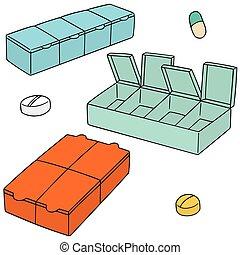 vector set of pill box