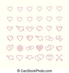 Vector set of pink line hearts