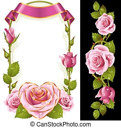 Vector set of Pink Roses Decoration