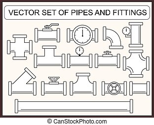 Vector set of pipes and fittings