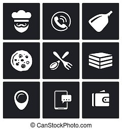 Vector Set of Pizza Delivery Icons. Cook, Order Manager, Shoulder baker, Pizza, Cutlery, Box Food, Address, Booking, Payment.
