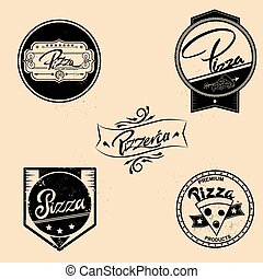 Vector set of pizza labels, design elements, emblems, badges. Isolated logos illustration in vintage style.