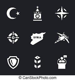 Vector Set of Plane crash Icons. - Turkey, Kremlin, nato,...