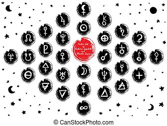 Vector Set Of Planetes and Alchemy Symbols