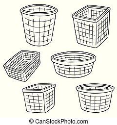 vector set of plastic basket