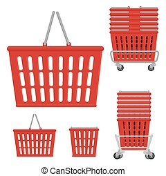 Vector set of plastic red shopping basket