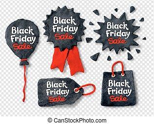 Vector set of plasticine Black Friday banners