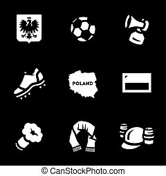 Vector Set of Poland Icons. - Coat of arms, ball, whistle,...