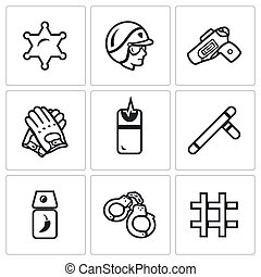 Vector Set of Police Icons. Sheriff, Law, Weapon, Ammunition, Neutralization, Pacification, Suppress, Arrest, Detention.