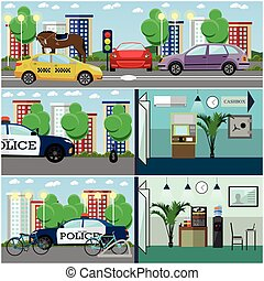 Vector set of police interior posters, banners in flat style