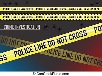 Vector set of Police line do not cross tape, and bullet holes