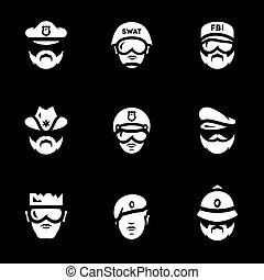 Vector Set of Police People Icons.