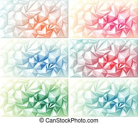 Vector Set of Polygon Abstract Polygonal Geometric Triangle Multicolored Green Yellow Orange Blue Red Pink Purple Violet Backgrounds