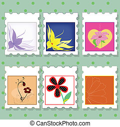 postage stamps with flowers