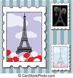 postage stamps with paris