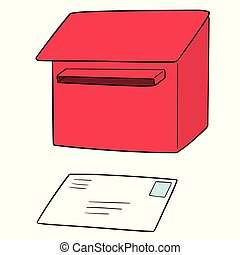 vector set of postbox and envelope