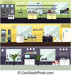 Vector set of posters with scientific research laboratory...