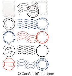 Vector set of postmarks & stamps.