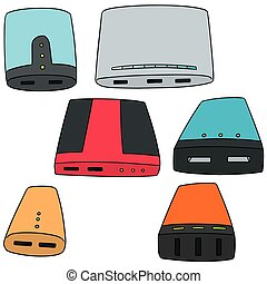 vector set of power bank