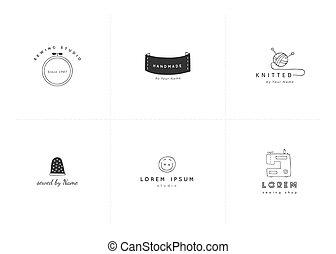 Vector set of premade logo templates. Hand drawn handmade...