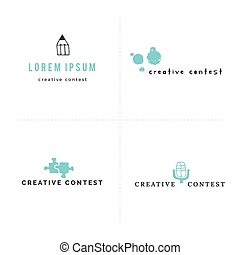 Vector set of premade logo templates with colored hand drawn...