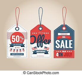 Vector Set of price tags for 4th of July