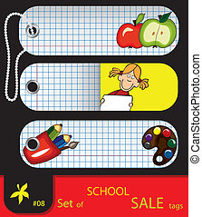 Vector set of price tags for school.