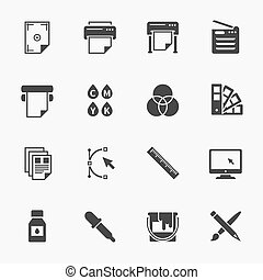 Vector set of printing icons. Palette and printer, curve bezier, color production, pencil and paintbrush illustration