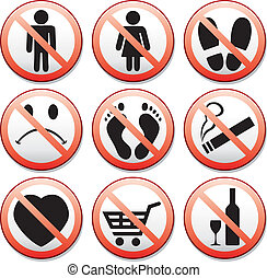 vector set of prohibition signs