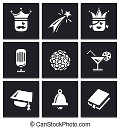 Vector Set of Prom Icons. King, Firework, Queen, Equipment,...